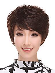 Side Bangs Capless Short Curly 100% Human Hair Wigs(Dark Brown)