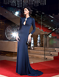 Formal Evening Dress - Dark Navy Plus Sizes / Petite Sheath/Column Jewel Sweep/Brush Train Jersey