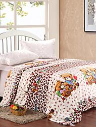 Cute Bear Pattern Flannel Blanket