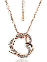 Meles Double Heart Shape Pendant Necklace