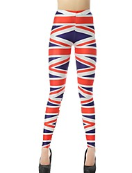 Elonbo Surrounded By Red Stripe Style Digital Painting Tight Women Leggings