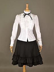Preppy Style Blanco y Negro Algodón Classic Lolita Traje