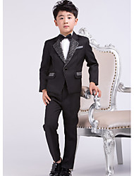 Black Satin Ring Bearer Suit - 4 Pieces