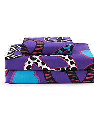 "Sheet Set,4-Piece Microfiber Modern Style Heart Antiwar Pattern Purple with 12"" Pocket Depth"