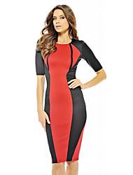 ToproM L Plus Size genou Femmes Half Longueur des manches longues moulante Robe crayon Women'sBandage Casual Dress 9073 (rouge)