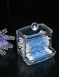European Transparent Acrylic Women's Makeup Cotton Organizer Lady's Dressing Case Crystal Swab Box Gift/Present