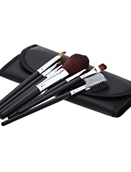 Cosmetic Brush Tools with Black Leatherette Pouch