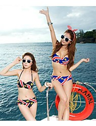 Women's Halter Bikinis , Geometric Padless Bra Spandex Blue/Black