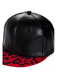 Unisex Leopard Grain Leather Hip Hop Cap