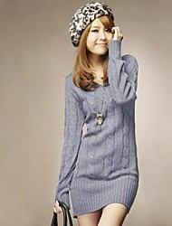 Women's V Neck Knitwear Jumper Pullover Sweater Mini Dress