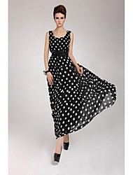 Women's Vintage Polka Dot Swing Dress,Round Neck Mini Chiffon