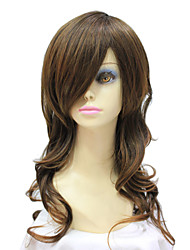 Capless Synthetic Long Dark Brown Curly Synthetic Hair Wig