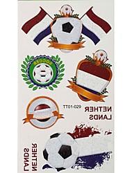 Motivo 2PCS di calcio Olanda Coppa del Mondo Tattoo Waterproof corpo temporaneo Glitter Stickers