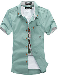 Happy Time Embroidered Short-Sleeved Shirt (Green)