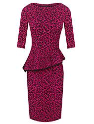 CD Ruffle Bodycon Dress (Fuchsia)-H1010