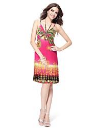 Spaghetti mit V-Ausschnitt Elastic Zurück Printed Short Casual Dress