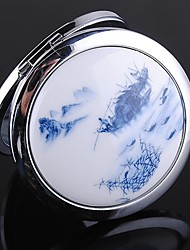 Chinese Painting Round Stainless Steel Compact Mirror Favor