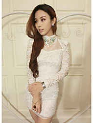 Women's Hollow Slim Precious Stone Shoulder Pad Lace Dress