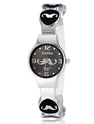 Vrouwen Leuke Snor patroon ronde Dial legering band LCD Digital Fashion Watch (assorti kleur)