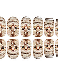 Motif 12PCS Cat Nail Art Stickers lumineux