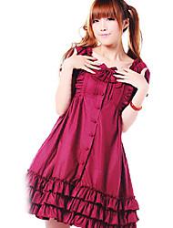 Short Sleeve Fuchsia Cotton Sweet Lolita Cosplay Dress
