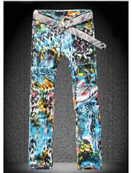 Men's Colored Drawing Print Slim Denim Pant