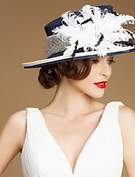 Красивая Лен Женщины Свадьба / партия / особых поводов шляпа с пером