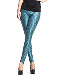 Elonbo Le Blue Fish Scales Peinture Style numérique Tight Leggings