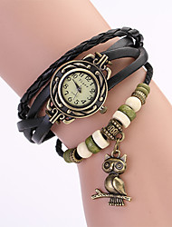 Koshi 2014 Women's Vintage Owl Leather Chain   Wristwatch (Black)