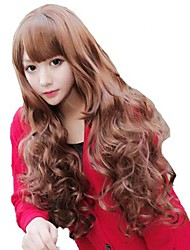Fashion Woman Capless Long Wavy Honey Brown Synthetic Stylish Side Bang Wig