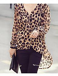 Y & H Frauen Einfache V-Ausschnitt Leopard-Druck Chiffon Loose Fit Big Size Bluse