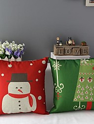 Set of 2 Merry Christmas Snowman and Christmas Tree Printed Decorative Pillow Covers