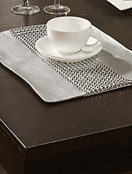 Set of 4 Silver Bead Embellished Placemats