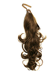 Ribbon Tied Light Brown Long Wavy Synthetic Ponytail Hair Extensions