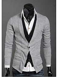 Wshgyy Men's Two Piece Like Leisure Knitwear Cardigan Light Gray Shirt