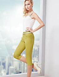 Das OSA Verão Novas Mulheres material macio Lace Costura magro ocasional montagem calças Plus Size