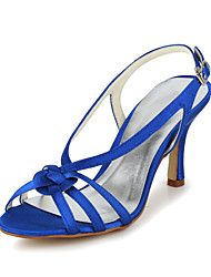 Women's Spring Summer Fall Slingback Satin Wedding Party & Evening Stiletto Heel Silver Blue Gold Beige Purple