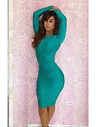 Women's Solid Green/Red Dress , Sexy/Party/Bodycon Crew Neck Long Sleeve Backless