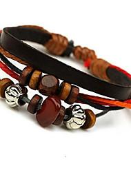 Strand bracelet noir en cuir de classiques archaïsant 20cm Hommes () (1 PC)