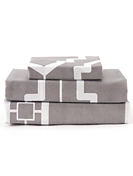 "Sheet Set,4-Piece Microfiber Modern Style Geometric Gray with 12"" Pocket Depth"