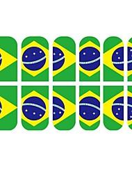 12 PCS 3D Vollfinger-Nagel-Spitzen-Aufkleber für Brasilien Fußball-Fans
