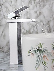 Moderno Single Handle cascata lavandino rubinetto del bagno (con finitura cromata)