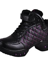 De las mujeres de cuero suave Logo Rhinestone Animal Gimnasio Zapatillas Zapatos de baile