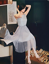 Tunica Mesh Vest chiffon pieghettato il vestito di Fiona donne (blu)