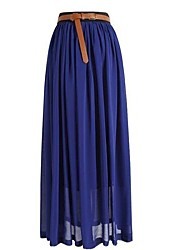 Women's Vintage Chiffon Pleated Maxi Skirt, Solid Black Red Pink Blue