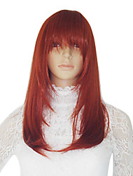 Red Synthetic Medium Length Straight Wig