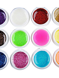 12PCS Mixs Color Glitter Powder UV Color Gel for Manicure Nail Tips(8ml)