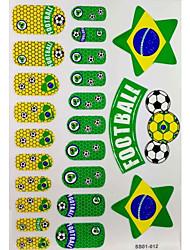 2 stuks 20 Brazilië WK Voetbal Patroon Nail Art Stickers & 3 tijdelijke tatoeage