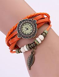 Koshi 2014 Mode Feuille Vintage chaîne en cuir pour femmes Watch (Orange)