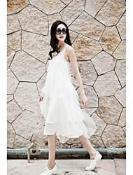 Women's Holiday Sexy Loose Dress,Solid V Neck / Strap Midi / Asymmetrical Sleeveless White Polyester All Seasons
